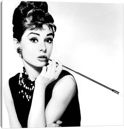 Breakfast At Tiffany's Series: Audrey Hepburn Smoking Canvas Art Print