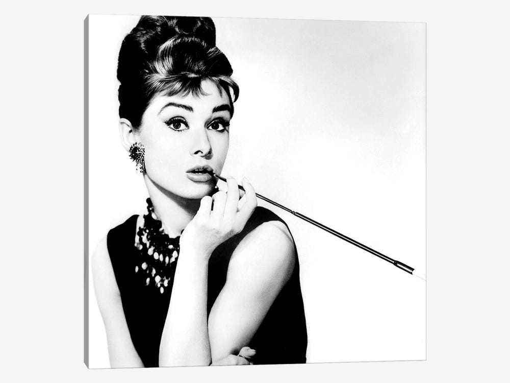 Audrey Hepburn Smoking by Radio Days 1-piece Canvas Art Print