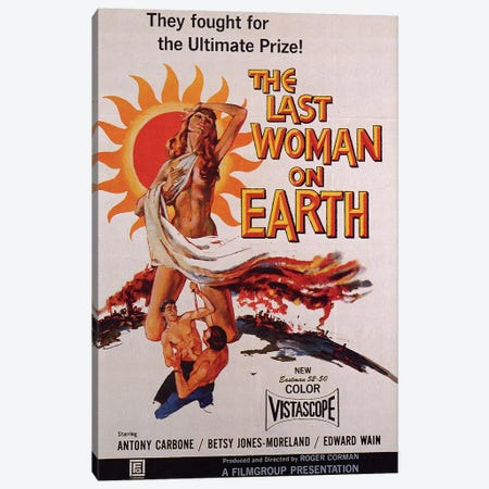 The Last Woman On Earth Film Poster Canvas Print #RAD80} by Radio Days Canvas Wall Art