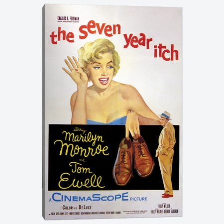 The Seven Year Itch Film Poster Canvas Print #RAD81} by Radio Days Canvas Art