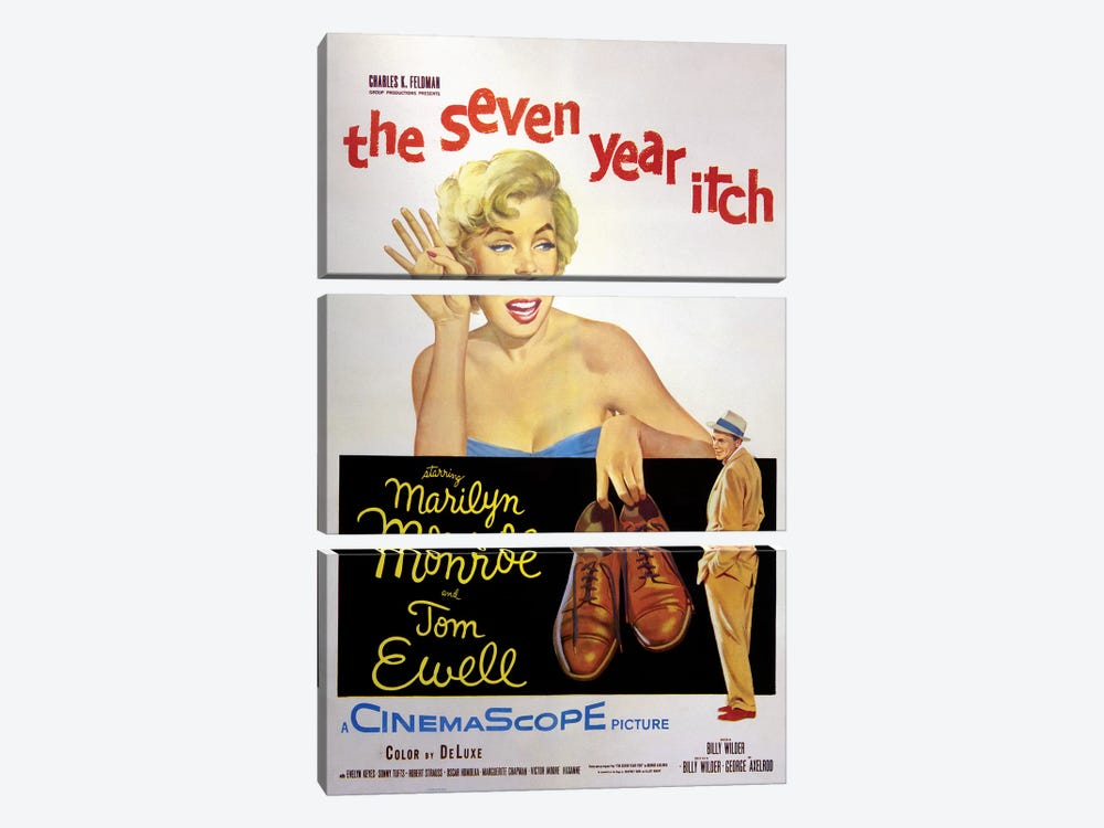 The Seven Year Itch Film Poster by Radio Days 3-piece Canvas Print
