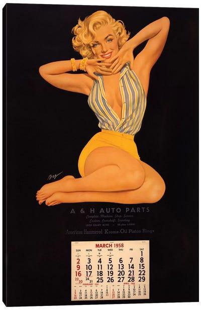 Vintage Marilyn Monroe Calendar Page (A & H Auto Parts, March, 1958) Canvas Print #RAD82