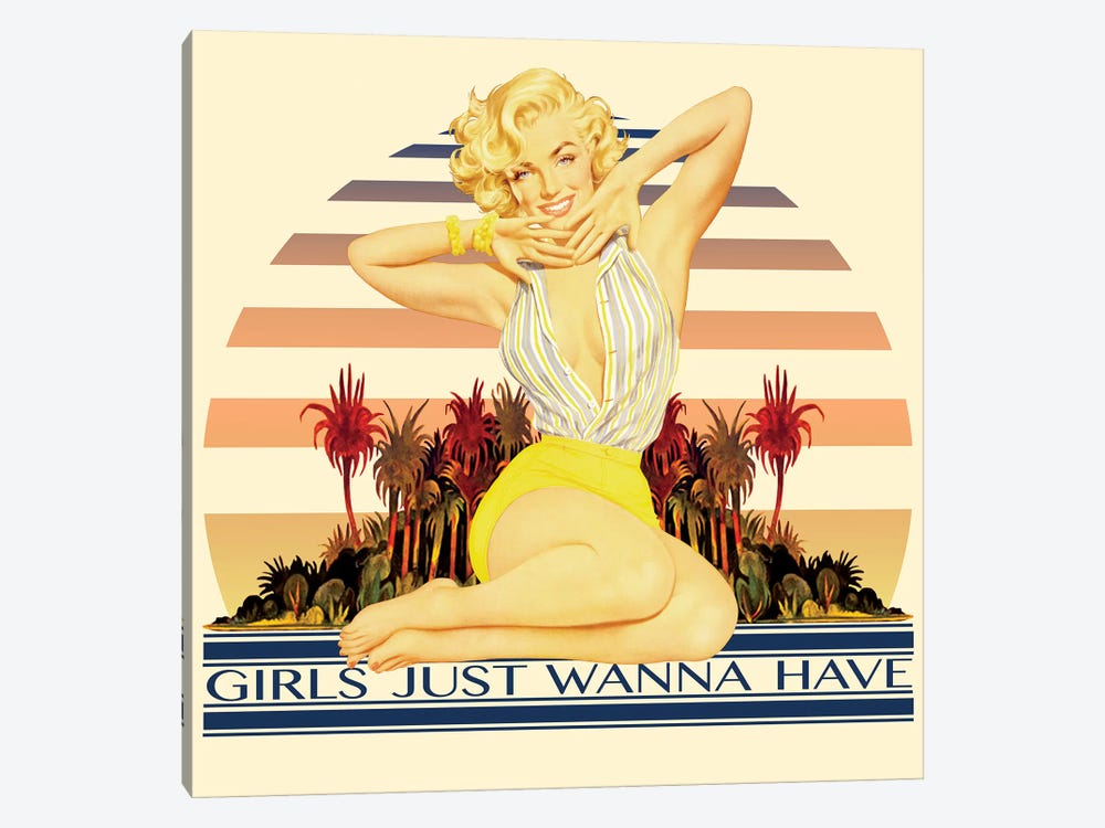 Vintage Marilyn Monroe Promotional Poster (Girls Just Wanna Have) by Radio Days 1-piece Canvas Art Print
