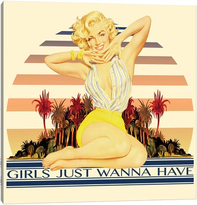 Vintage Marilyn Monroe Promotional Poster (Girls Just Wanna Have) Canvas Art Print