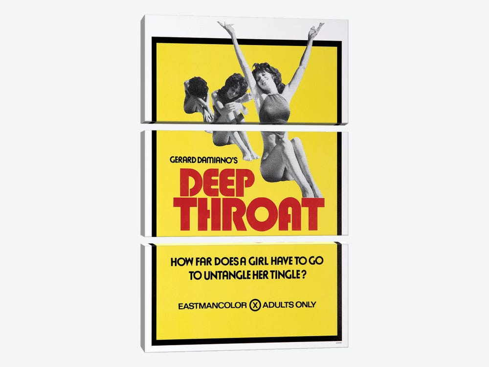 Deep Throat Film Poster by Radio Days 3-piece Canvas Art Print