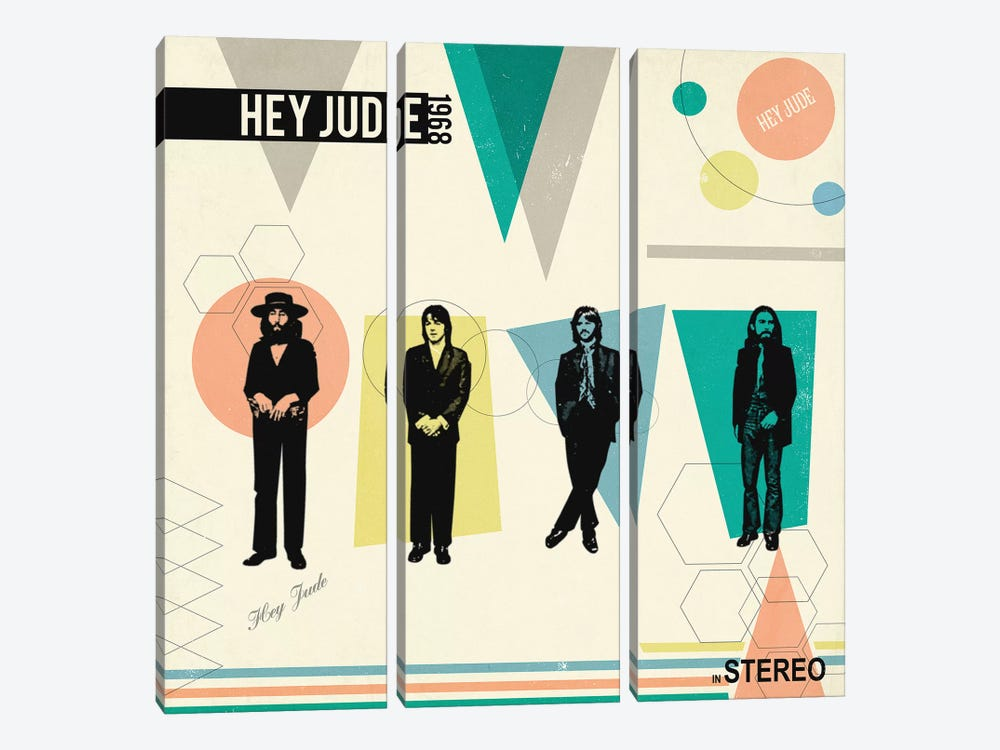Hey Jude In Stereo, 1968 by Radio Days 3-piece Canvas Wall Art