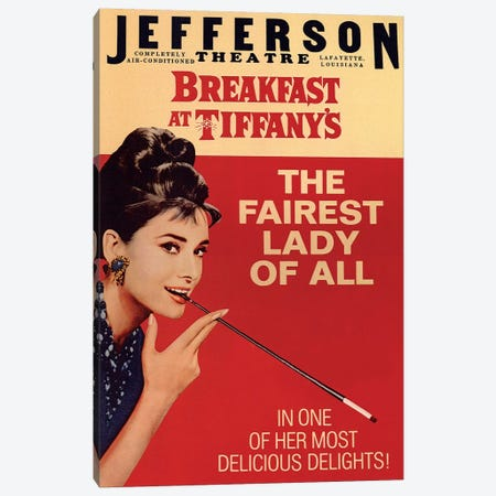 Breakfast At Tiffany's Film Poster (Jefferson Theatre Edition) Canvas Print #RAD8} by Radio Days Canvas Artwork