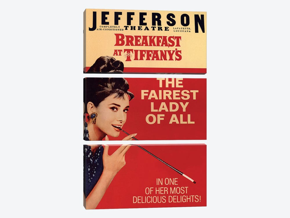 Breakfast At Tiffany's Film Poster (Jefferson Theatre Edition) by Radio Days 3-piece Canvas Wall Art
