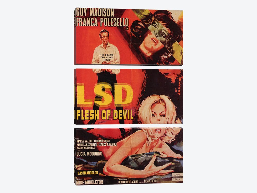 LSD Flesh Of Devil Film Poster by Radio Days 3-piece Canvas Print