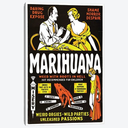 Marihuana Film Poster II Canvas Print #RAD92} by Radio Days Canvas Art Print