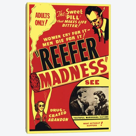 Reefer Madness Film Poster Canvas Print #RAD94} by Radio Days Canvas Artwork