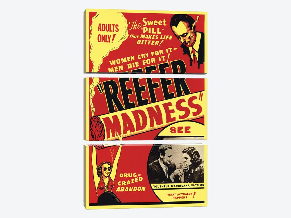 Reefer Madness Film Poster by Radio Days 3-piece Canvas Print