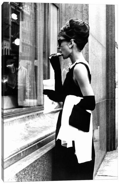 Breakfast At Tiffany's Series: Audrey Hepburn Window Shopping II Canvas Print #RAD9