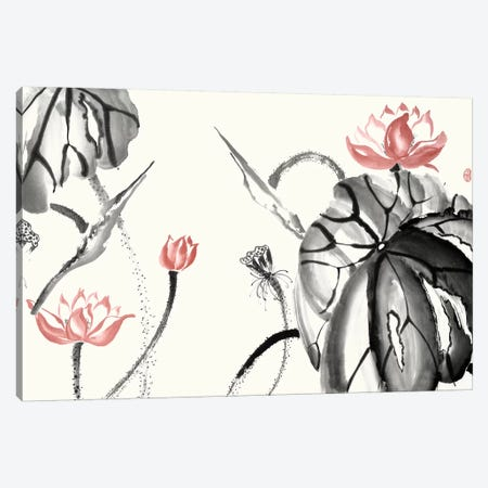 Lotus Study with Coral II Canvas Print #RAE10} by Nan Rae Canvas Art