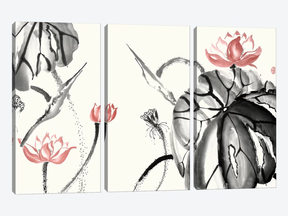 Lotus Study with Coral II by Nan Rae 3-piece Canvas Wall Art