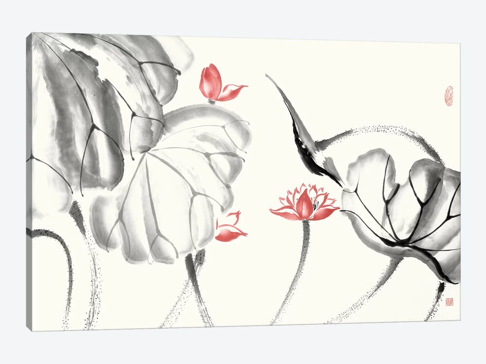 Lotus Study with Coral III by Nan Rae 1-piece Canvas Print