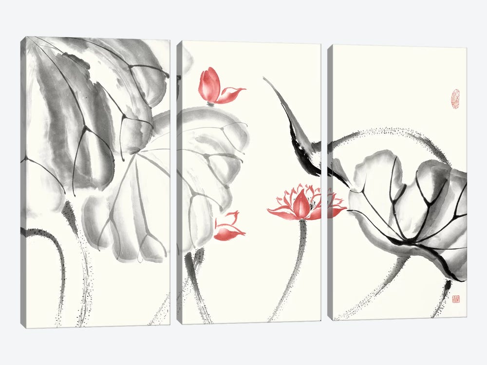 Lotus Study with Coral III by Nan Rae 3-piece Canvas Print