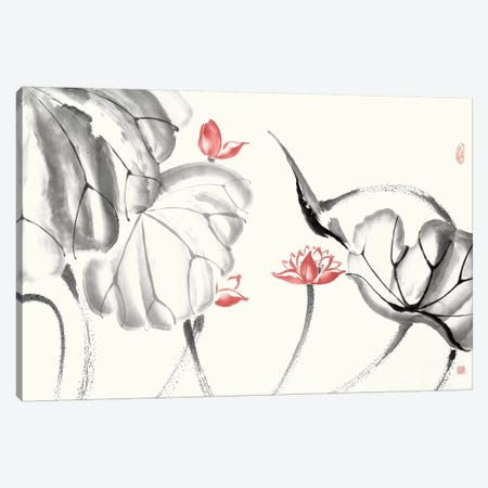 Lotus Study with Coral III 3-Piece Canvas #RAE11} by Nan Rae Canvas Art