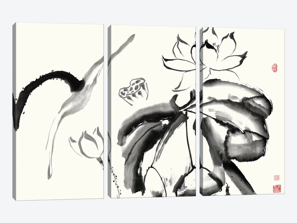 Lotus Study III by Nan Rae 3-piece Canvas Art