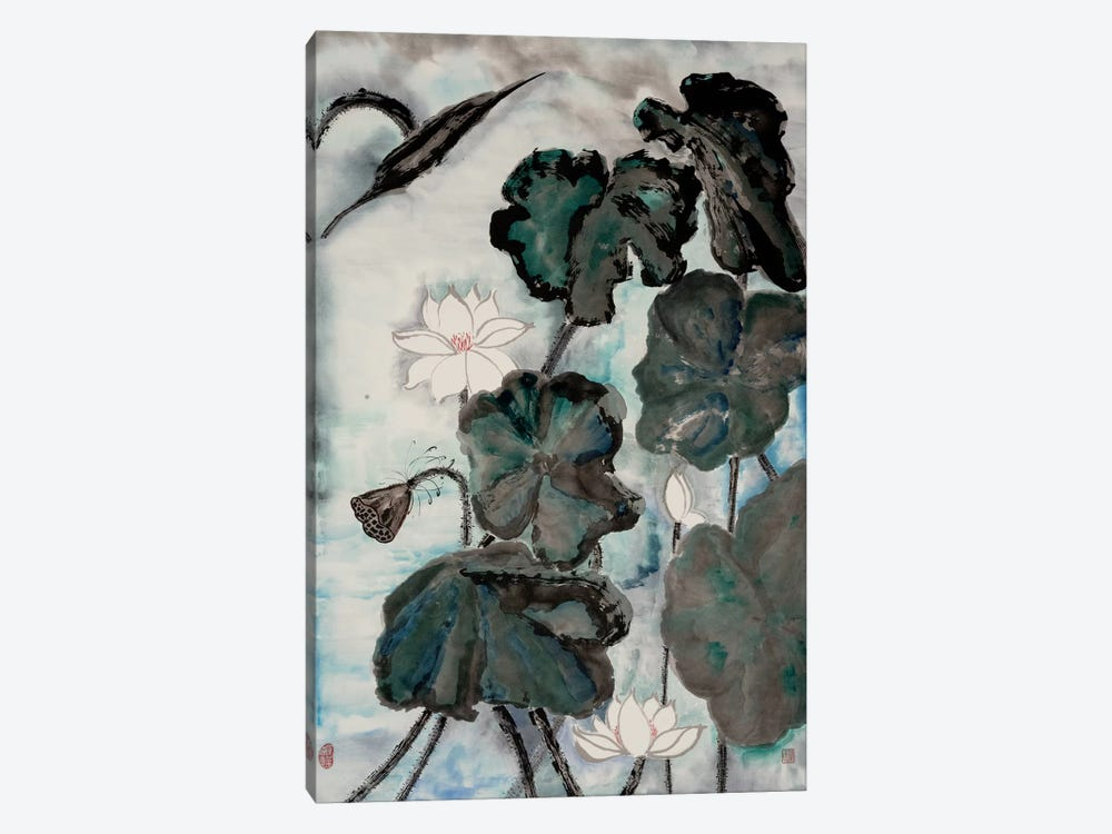 Lotus Study with Blue Green I by Nan Rae 1-piece Art Print