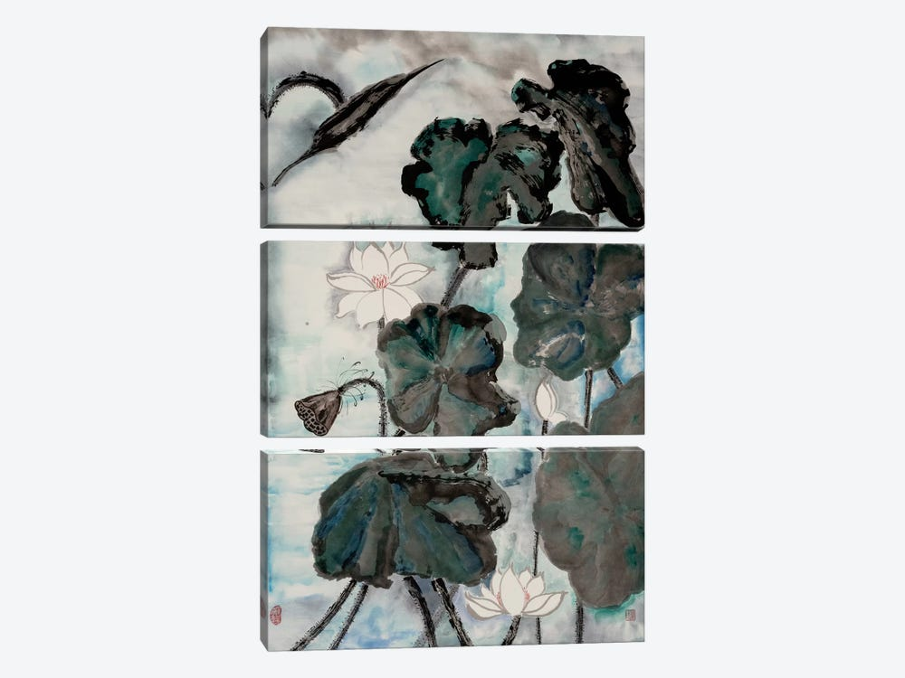Lotus Study with Blue Green I by Nan Rae 3-piece Canvas Print
