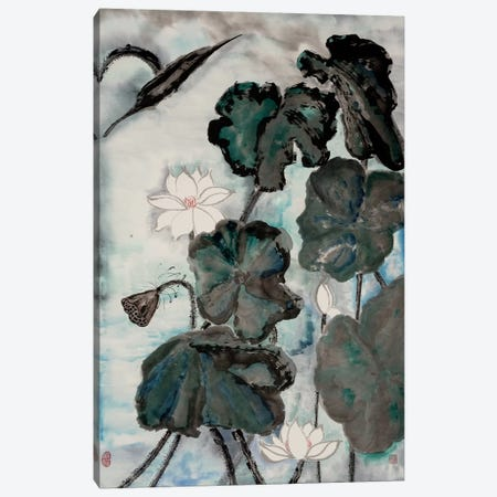 Lotus Study with Blue Green I 3-Piece Canvas #RAE6} by Nan Rae Canvas Artwork