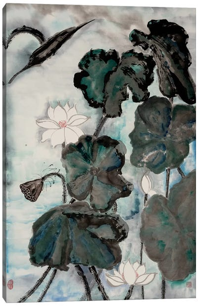 Lotus Study with Blue Green I Canvas Art Print