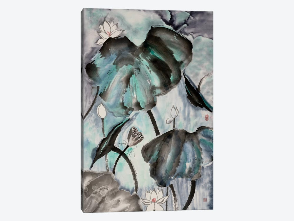 Lotus Study with Blue Green II by Nan Rae 1-piece Canvas Wall Art