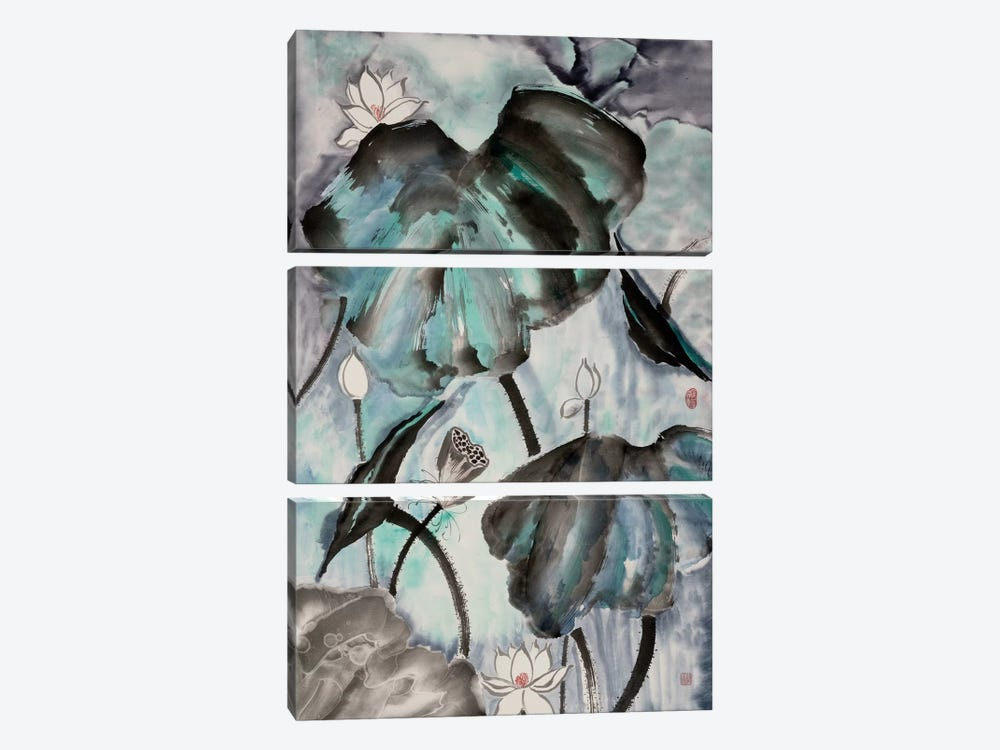 Lotus Study with Blue Green II by Nan Rae 3-piece Canvas Art