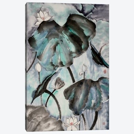 Lotus Study with Blue Green II Canvas Print #RAE7} by Nan Rae Canvas Artwork