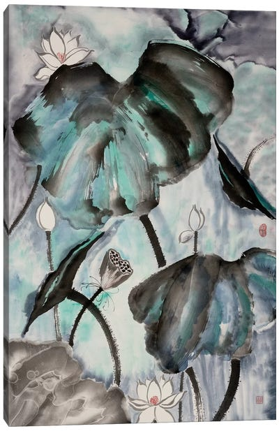Lotus Study with Blue Green II Canvas Art Print