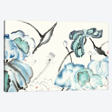 Lotus Study with Blue Green III 3-Piece Canvas #RAE8} by Nan Rae Art Print