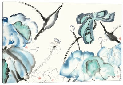 Lotus Study with Blue Green III Canvas Art Print