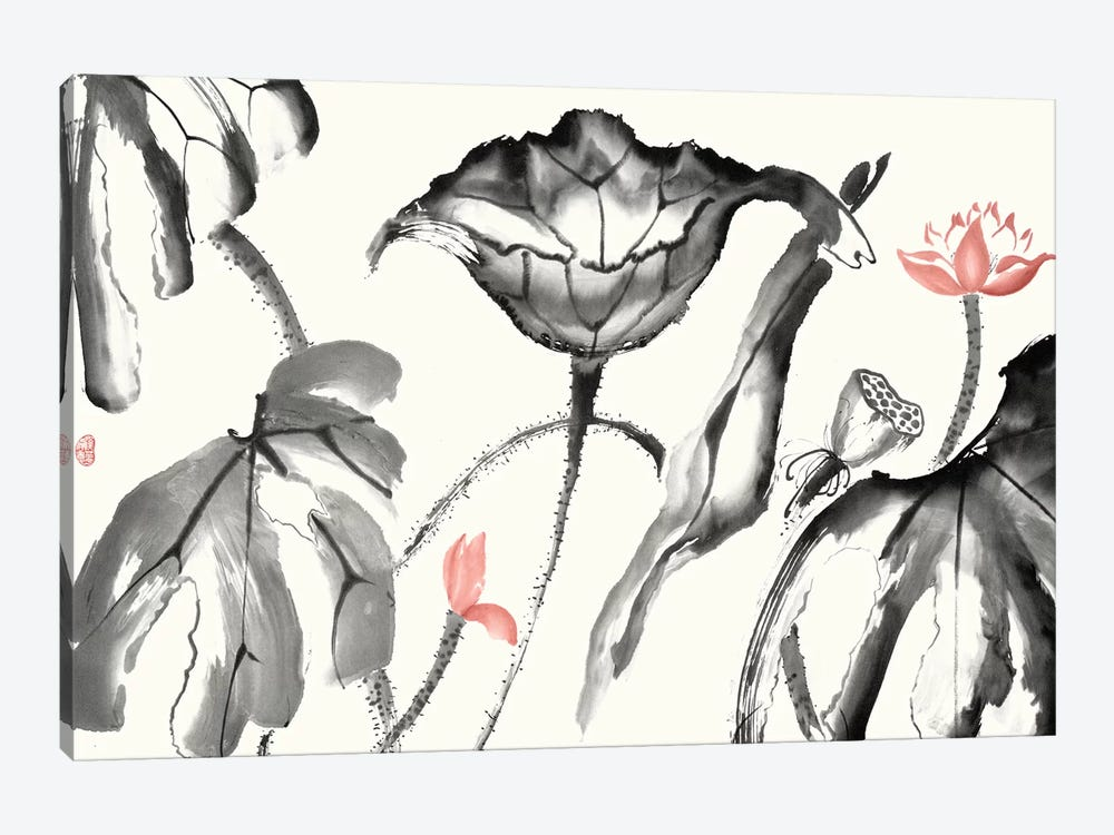Lotus Study with Coral I by Nan Rae 1-piece Canvas Art