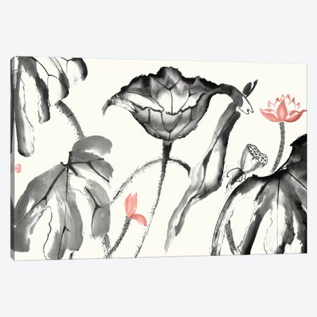Lotus Study with Coral I 3-Piece Canvas #RAE9} by Nan Rae Canvas Print
