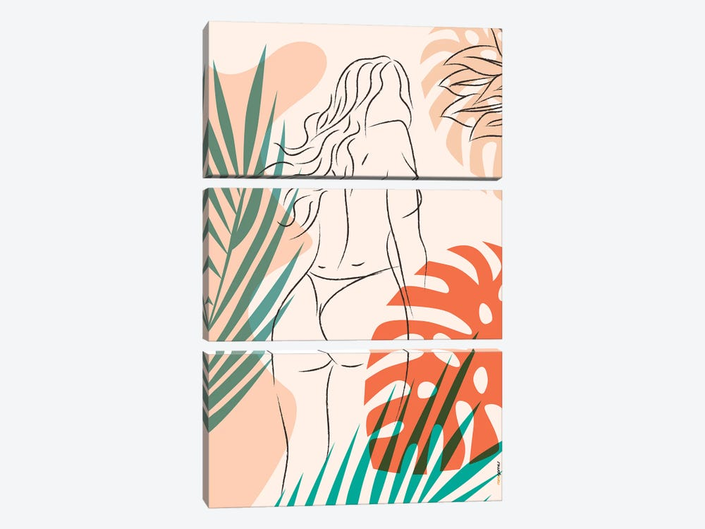 Beach Girl II by Rafael Gomes 3-piece Canvas Wall Art