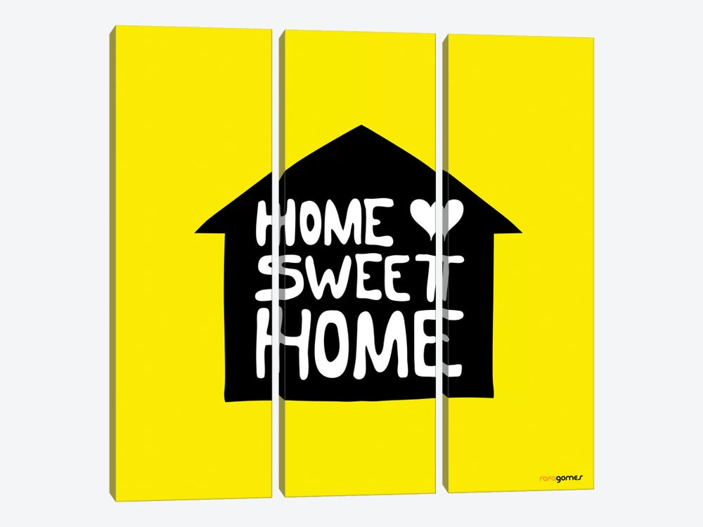 Home Sweet Home by Rafael Gomes 3-piece Canvas Print