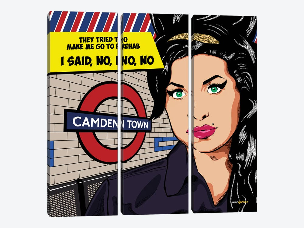 Amy Winehouse by Rafael Gomes 3-piece Canvas Wall Art