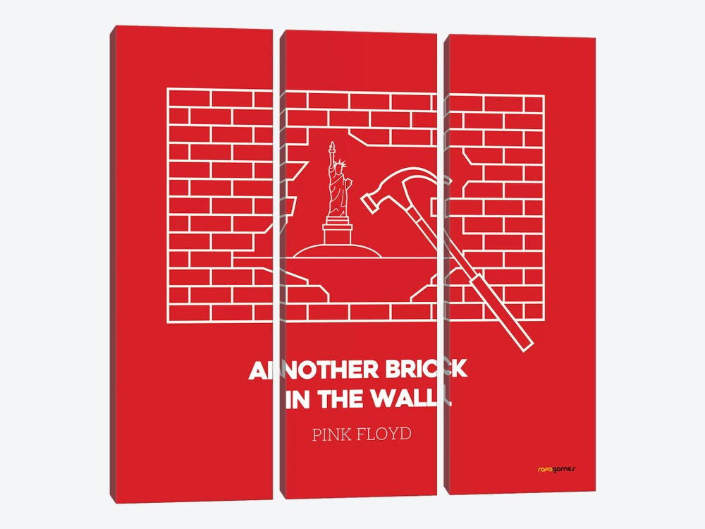 Another Brick In The Wall by Rafael Gomes 3-piece Canvas Print