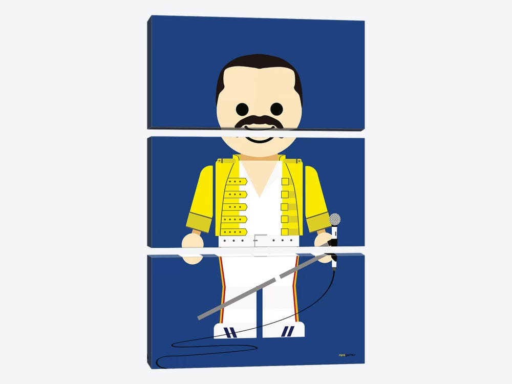 Toy Freddie Mercury by Rafael Gomes 3-piece Canvas Print