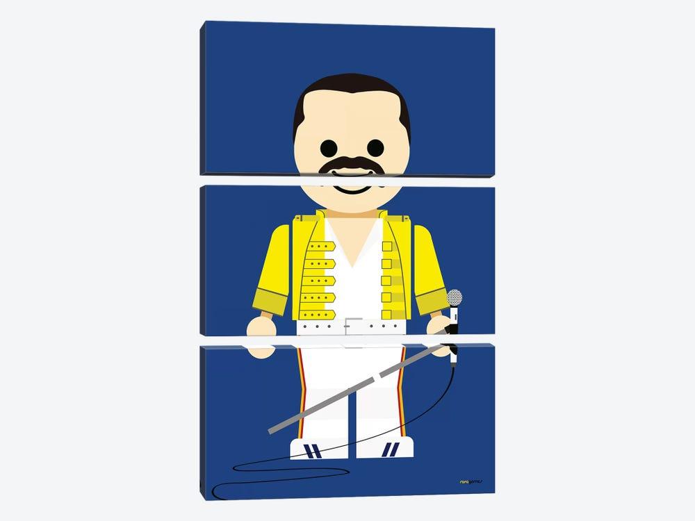 Toy Freddie Mercury by Rafael Gomes 3-piece Canvas Print