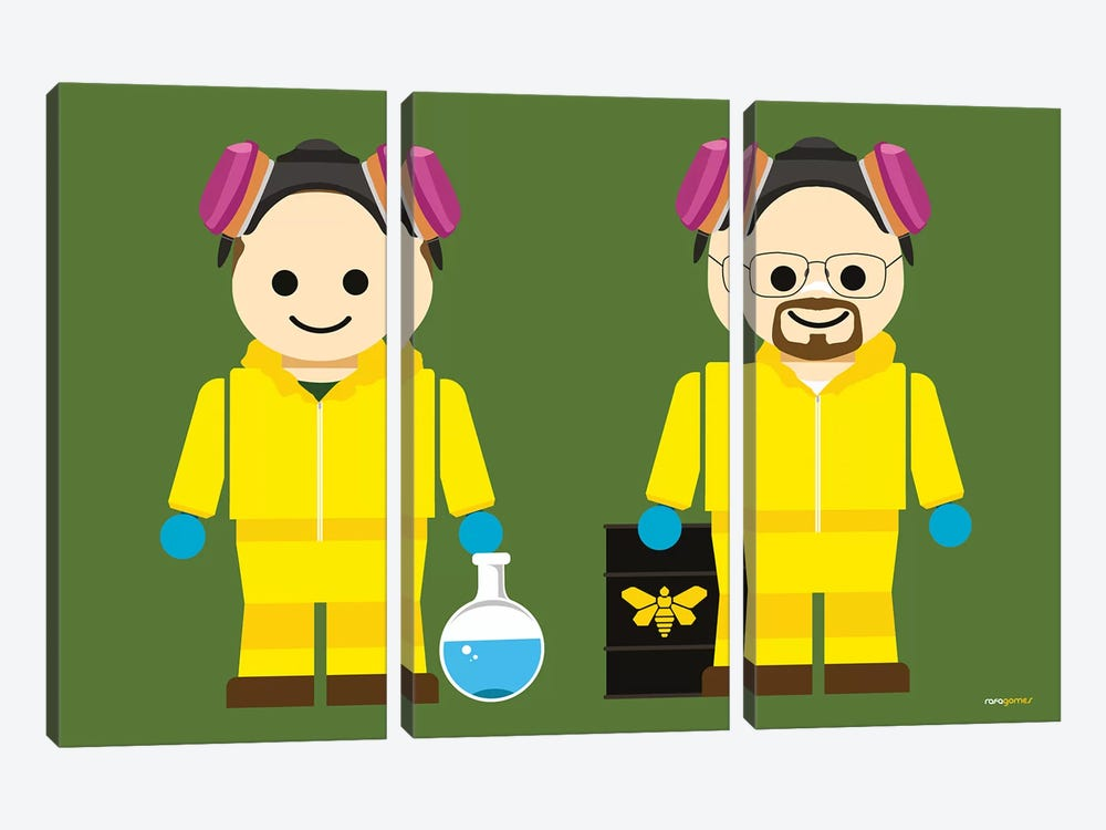 Toy Jesse Pinkman And Walter White by Rafael Gomes 3-piece Canvas Artwork