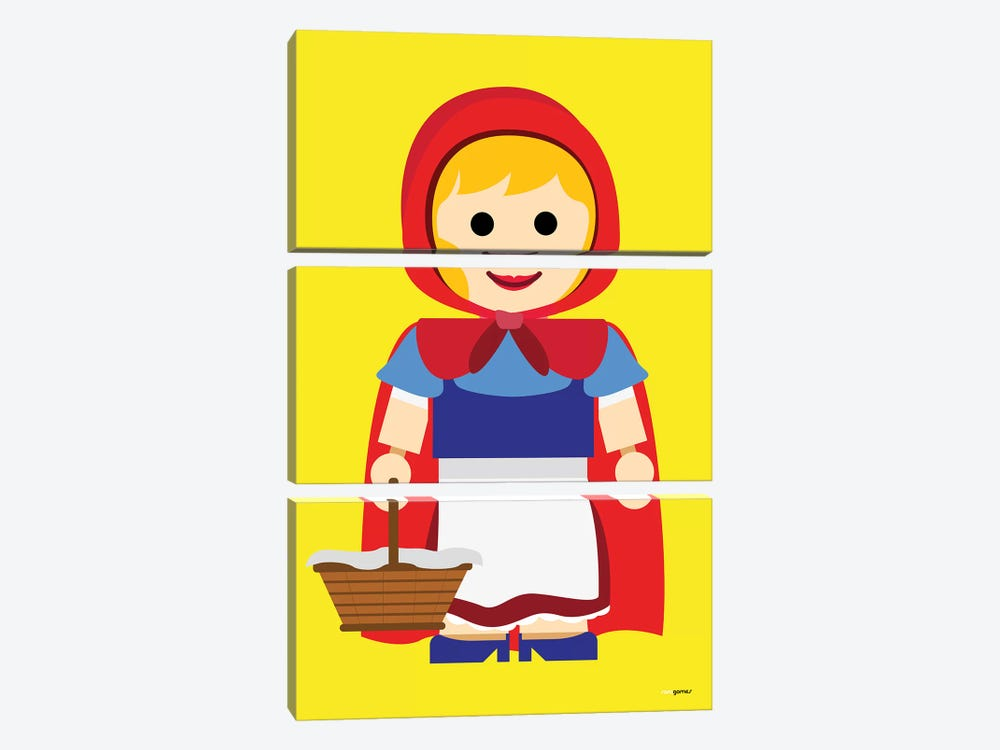 Toy Little Red Riding Hood by Rafael Gomes 3-piece Canvas Art Print