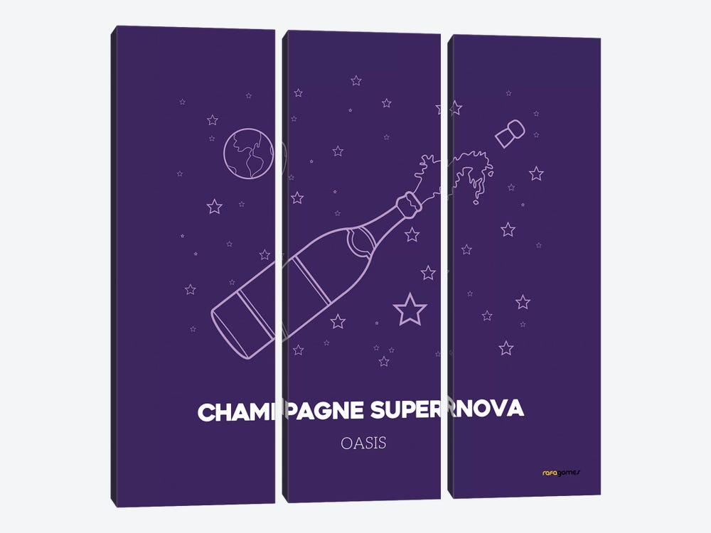 Champagne Supernova by Rafael Gomes 3-piece Canvas Wall Art