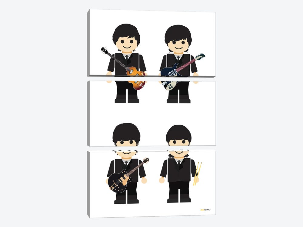 Toy The Beatles I by Rafael Gomes 3-piece Canvas Art