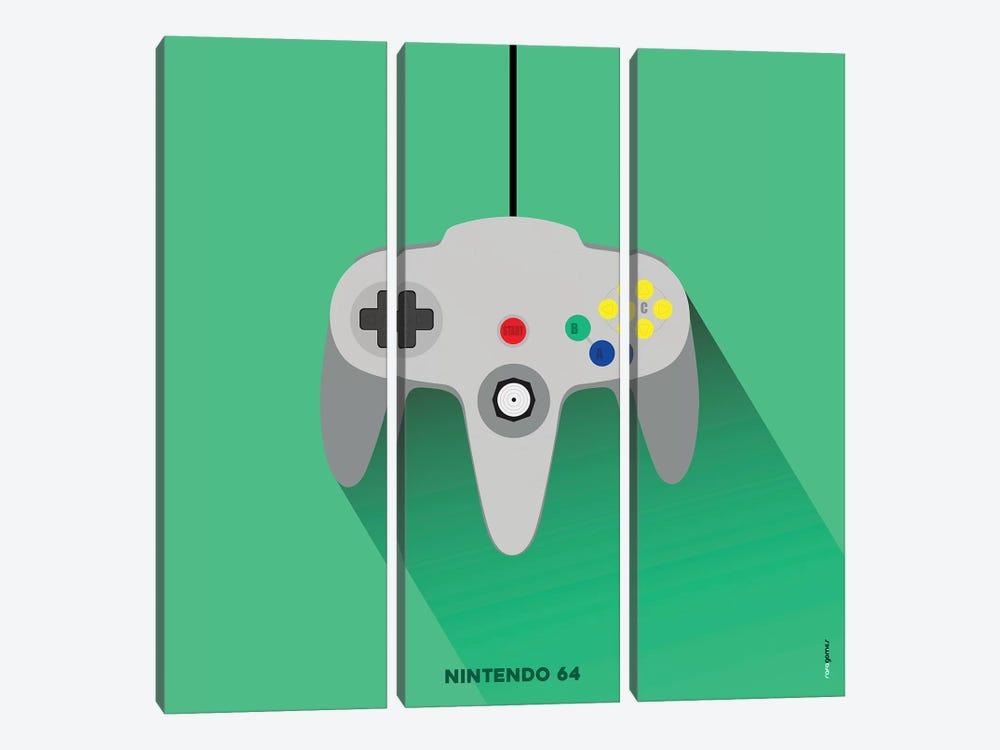 Joystick Nintendo 64 by Rafael Gomes 3-piece Canvas Wall Art