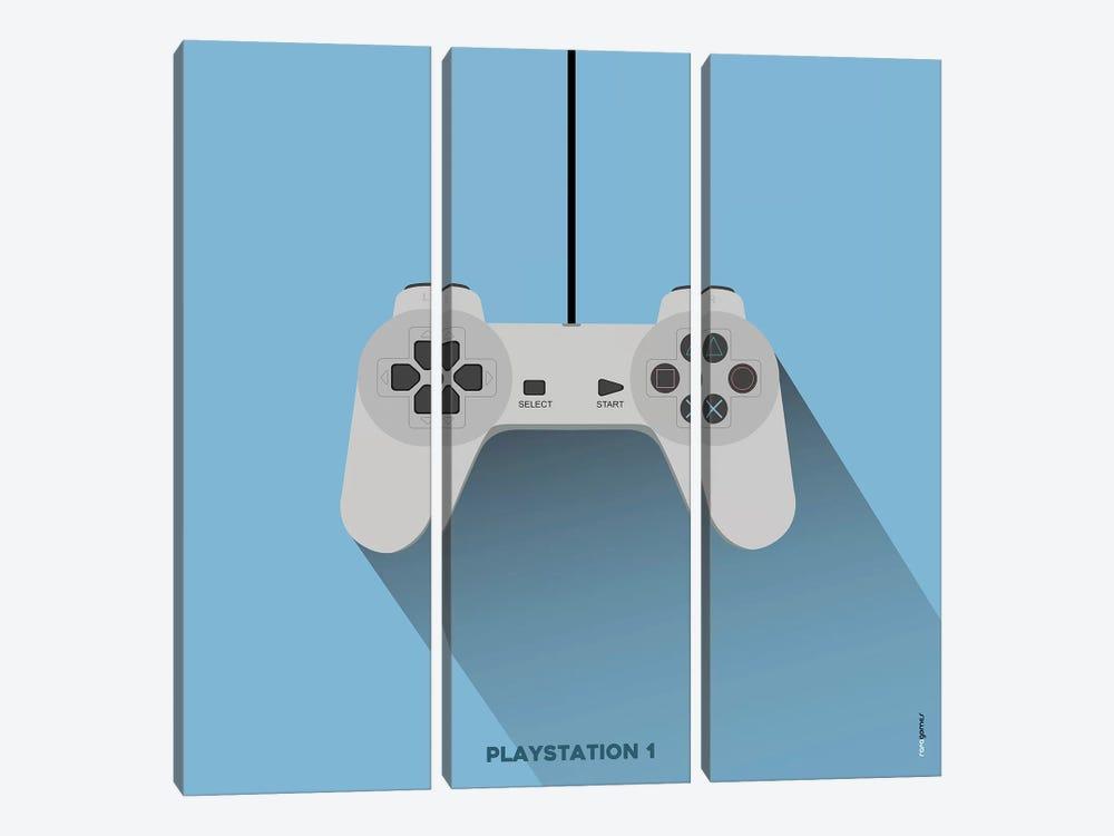 Joystick Playstation 1 by Rafael Gomes 3-piece Canvas Art Print