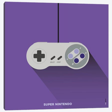 Joystick Super Nintendo Canvas Print #RAF94} by Rafael Gomes Canvas Artwork