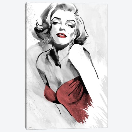 Marilyn's Pose Red Dress Canvas Print #RAH2} by Ellie Rahim Canvas Artwork