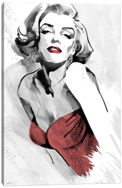 Marilyn's Pose Red Dress Canvas Art Print